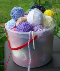 Yarn in a bucket