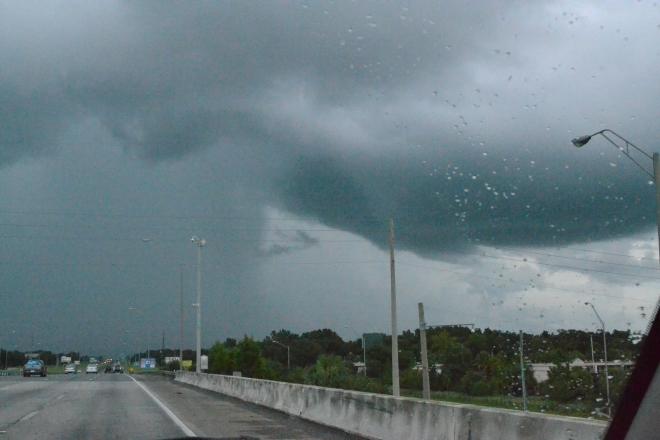 driving towards a downpour
